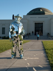 Mirror Man in front of Griffith Observatory in LA
